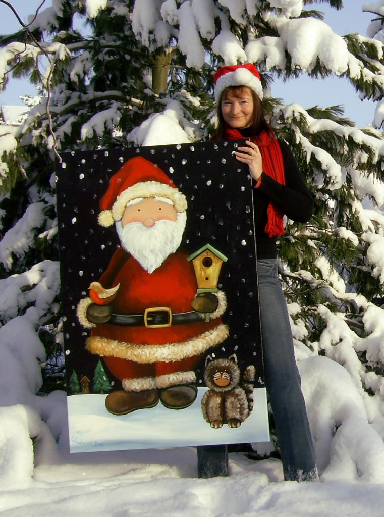 Weihnachtsmann Acryl Acrylmalerei Acrylbild Weihnachtsbild